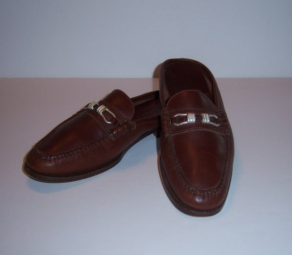 e04e27352fb53 Vintage Cole Haan Classic Brown Leather Mules Hand Sewn Slides Shoes 7.5  Medium Mocs Driving Moccasins