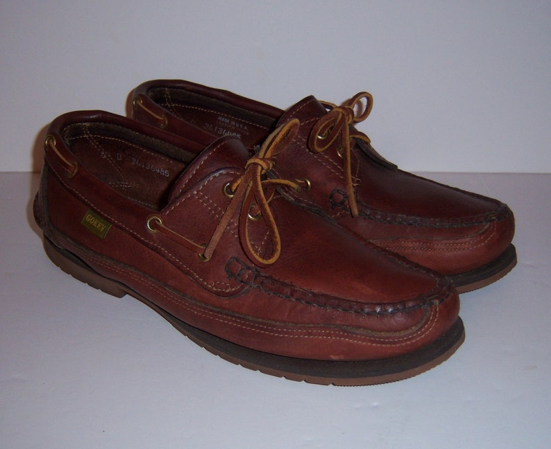 e3e892c2d8c Vintage Gokey Orvis Classic Brown Leather Camp Moccasins Boat Shoes  Topsiders Loafers 9 D Vibram Soles