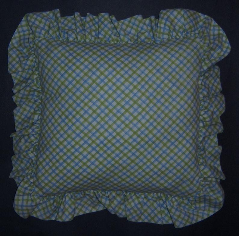 Vintage Laura Ashley Poppy Meadow Lattice Criss Cross Plaid Green Blue Print Pattern Ruffled Throw Pillow