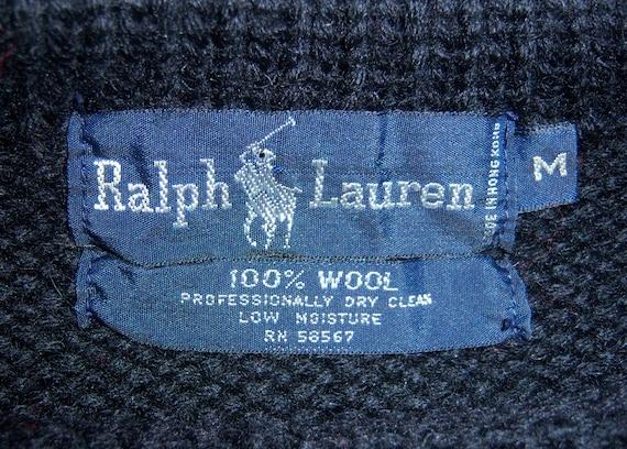 Vintage Polo Ralph Lauren Royal Blue Red Black Green Striped Stripe Heavy Wool Sweater Jumper Medium Blue Label Suicide Ski Cookie K Swiss