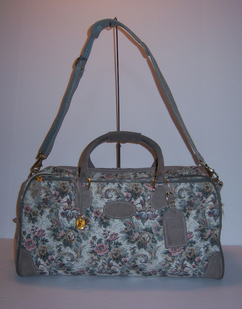 fa783bfa14a6 Vintage French Luggage Co. Company Grey Rose Pattern Tapestry