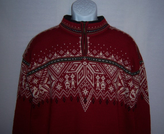 a63ec540156d Vintage Dale of Norway Norwegian Red Black Off White Fair Isle