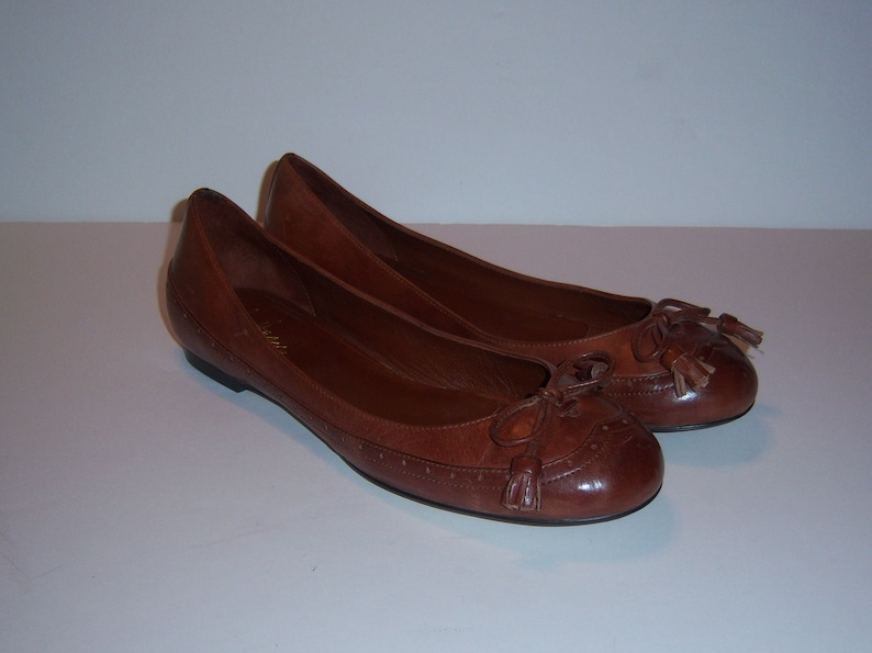 593629213a8e7 Vintage Cole Haan Brown Leather Kiltie Tassels Skimmers Ballet Flats Shoes  Slip Ons 8.5 B Medium