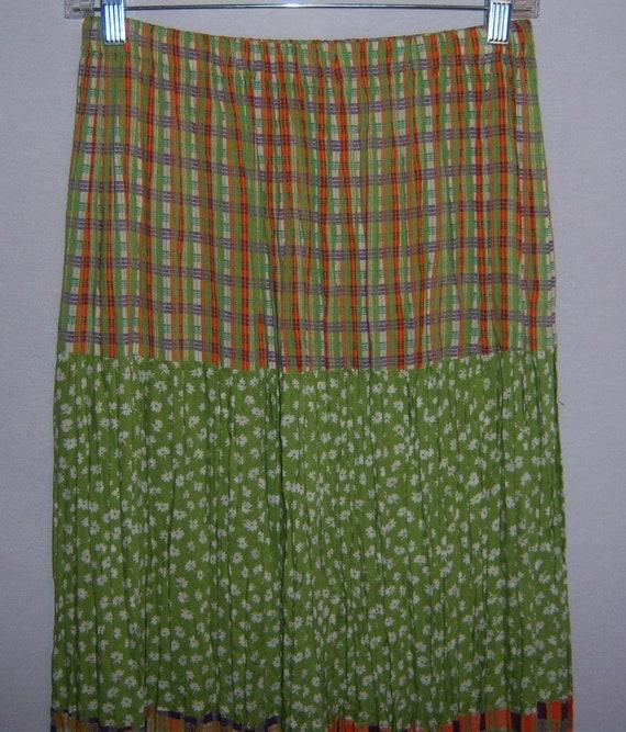 Vintage Kelly Stryker Brown Black Green Rust Floral Flower Gypsy Boho Maxi Broomstick Broom Skirt Small S Prairie Hippie