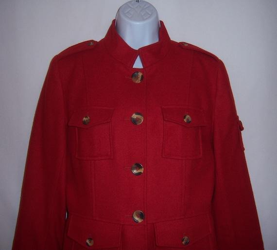 Vintage Sundance Red Wool Military Style Short Jac