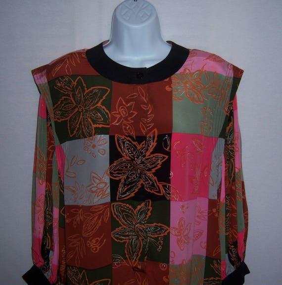 Vintage Soo Yung Lee Black Pink Brown Green Colorb