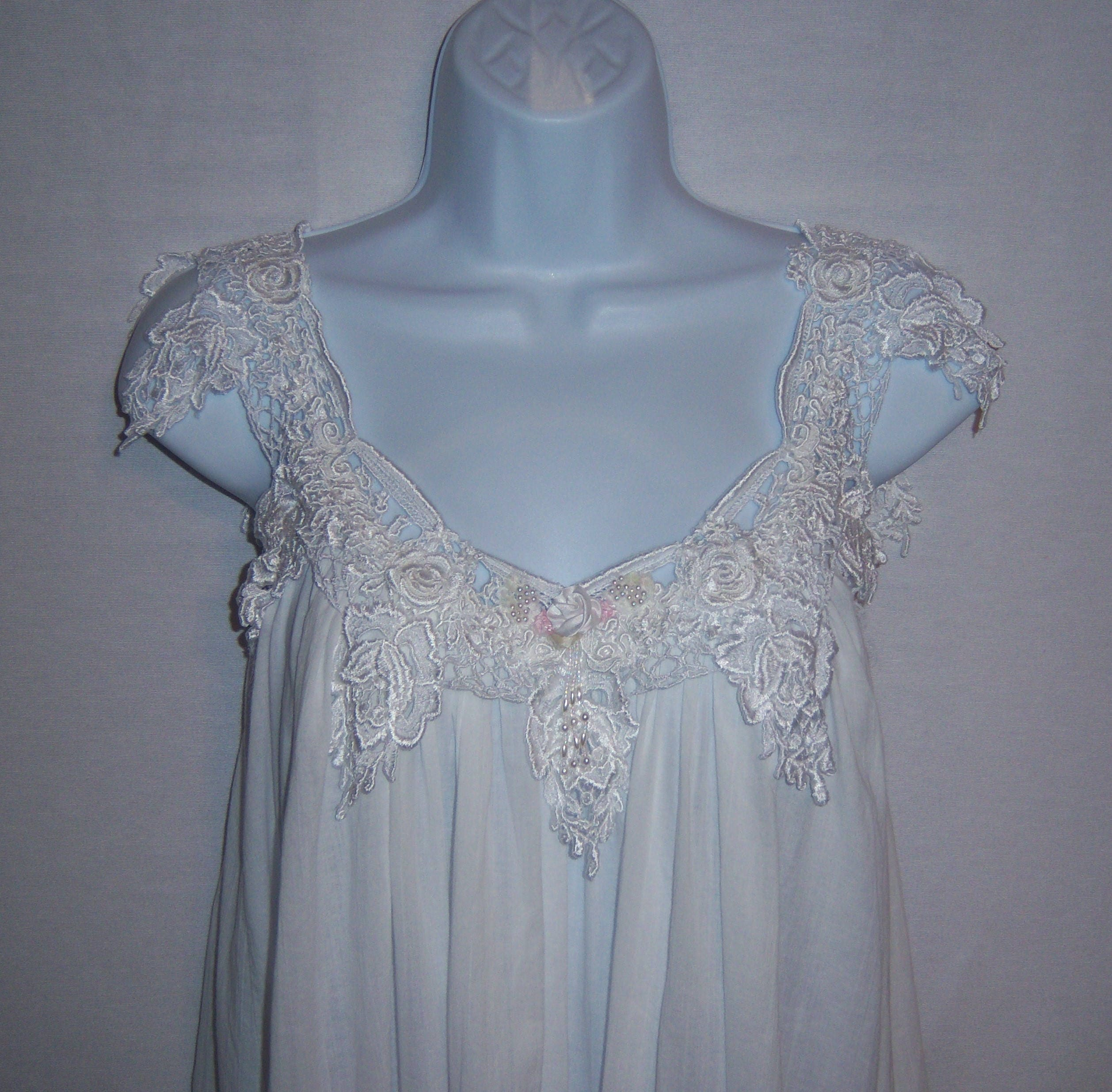 Vintage Jonquil by Diane Samandi White Cotton Lace Gown  2ef711f59