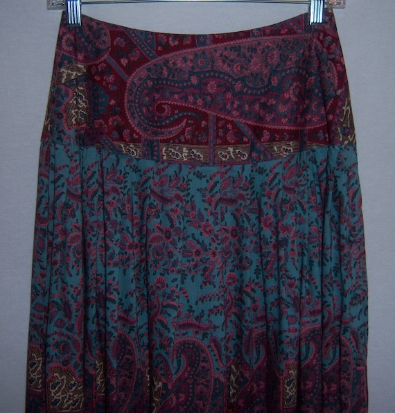 Vintage Carole Little For Saint Tropez West Blue Pink Maroon Floral Paisley Print Peasant Boho Gypsy Skirt 4 6 Small
