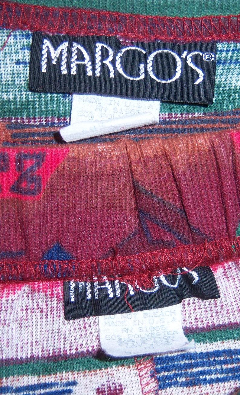 Vintage Margo/'s Red Green Brown Blue Southwest Serape Navajo Pattern Knit Shirt Top Matching Skirt Medium Large Set Outfit