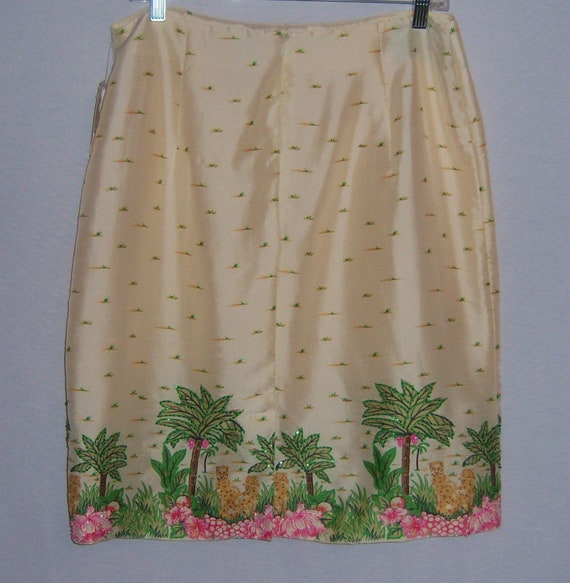 Vintage Silk Club Ivory Off White Pink Green Leop… - image 3