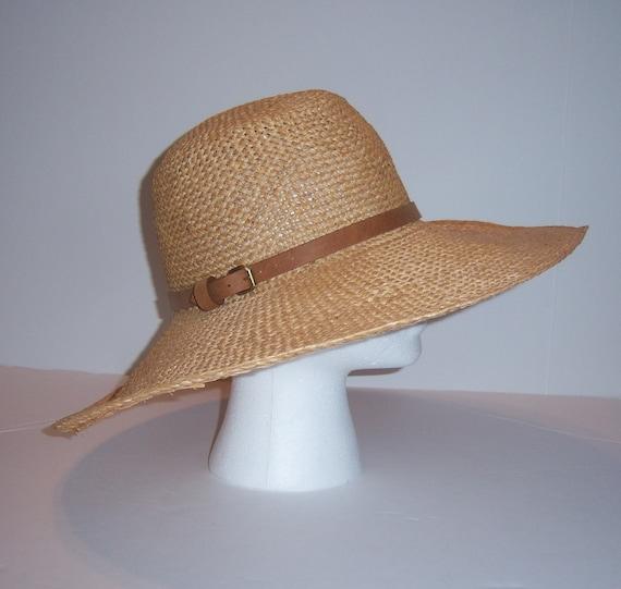 Vintage Polo Ralph Lauren Wide Brim Straw and Leather Sun Hat Safari Floppy