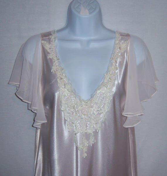 Vintage Jonquil by Diane Samandi Pink Ivory Satin Lace Chiffon  5028b1c9f