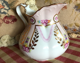 English Country Shabby Chic Pink Roses Pitcher