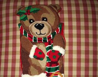 Needlepoint Poinsettia Teddy Bear Christmas Stocking