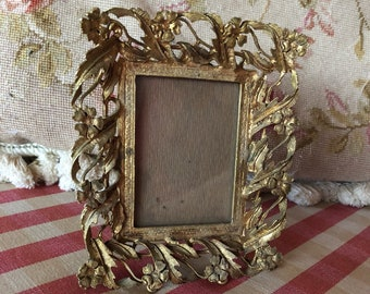 French Country Chic  Roses Ornate Ormolu Brass Picture Frame