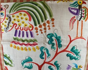 Detailed Clarence House Chinoiserie Mandchou Vanille Multi on Yellow Designer Vintage French Fabric