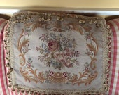 French Provence Aubusson Petit point Needlepoint tassel Fringe floral Pillow Cover