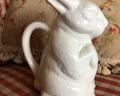 Farmhouse Bunny Rabbit Pitcher Vase