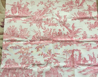 French Country Or Shabby Chic Clarence House Fabric Toile Called Delices  Des Quatre Color Rose