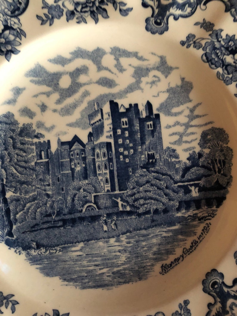 English Country Toile Blue Old Britain Castles