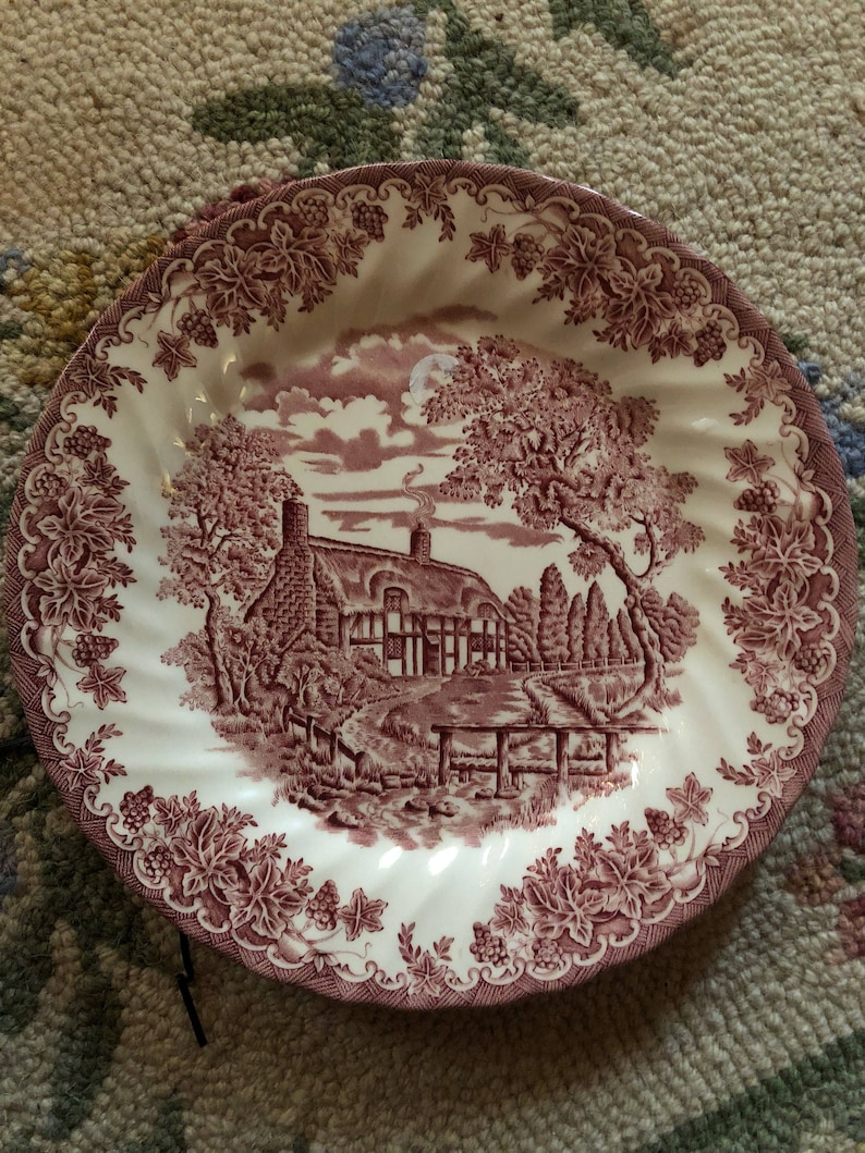 Country English Romantic Farmhouse pink Cottage Queen Plate