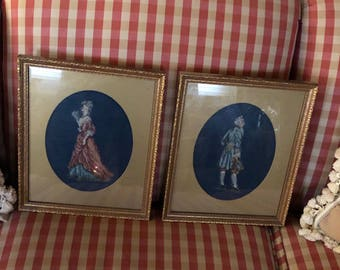 Pair of French Country Victorian Provence Petit Needlepoint Frame Art