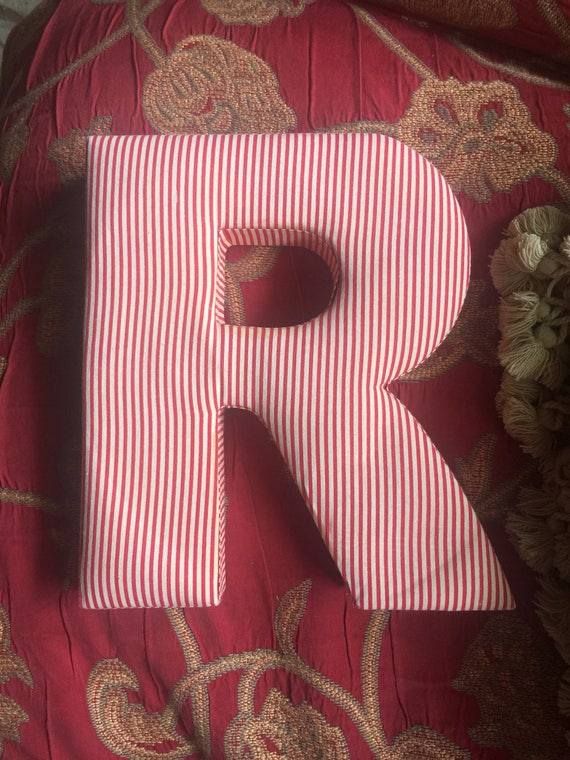 The letter R fabric cover letter in candy stripe
