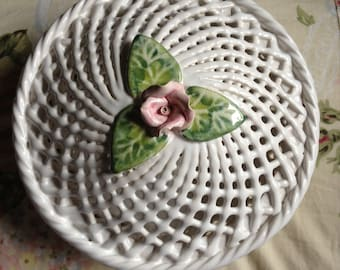 French country or shabby chic Rose trellis covered jewelry trinket