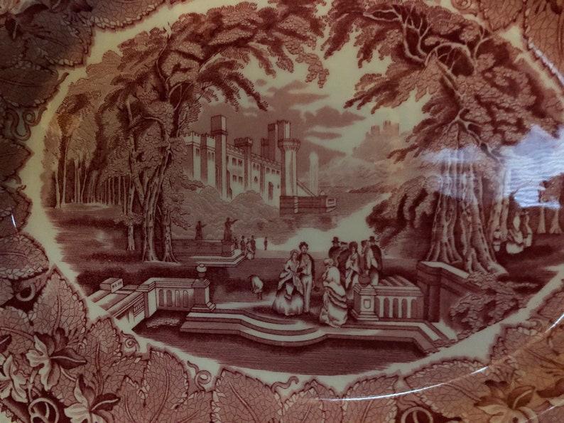 English Country Vista Pink Mason Scallop Oval Platter Plate