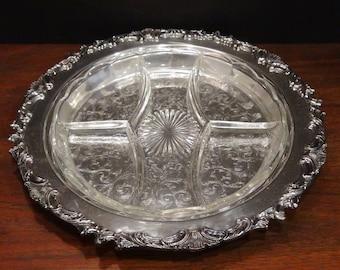 "Round Silver Plated Serving Tray 14"", Sheffield, Crystal Divided Insert, Embossed Center with Surround, Hors d'oeuvres Tray"