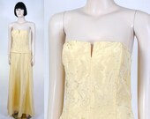 Vintage 1990s Jessica McClintock Strapless Gown - Yellow Gown - Formal - Special Event Dress - Gunne Sax - Home Coming Gown