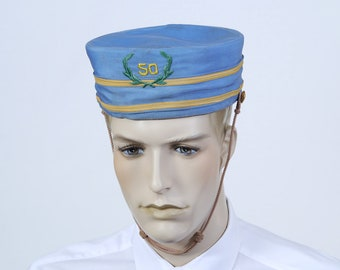 Vintage Freemason Ceremonial Pillbox Hat - Bellboy Cap - Movie Usher Hat -  Bellhop Hat - Blue No 50 Hat 30bc161aefdb