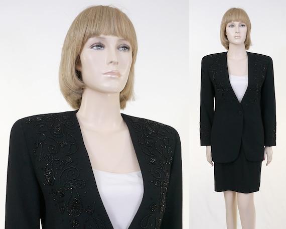 Vintage Talbots Petite Black Suit - 2 Piece Suit -