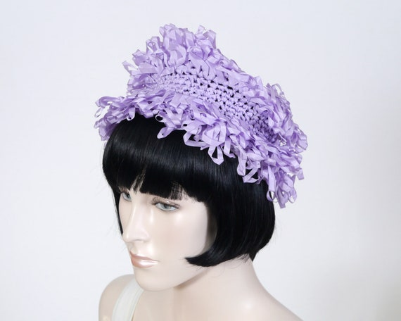 Vintage Women's Purple Crocheted Ribbon Hat - 1950
