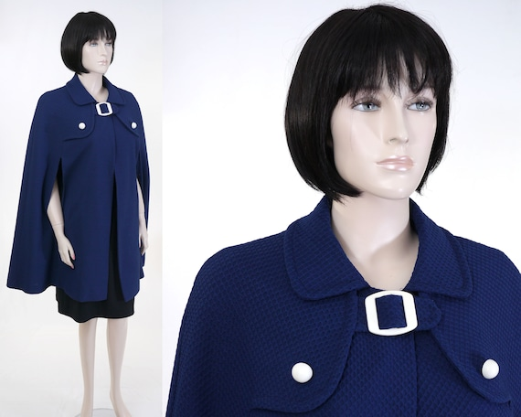 Vintage Women's Textured Navy Blue Cape - Sears, R