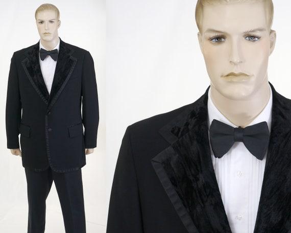 Vintage Men's Crushed Velvet Lapel Black Tuxedo Di