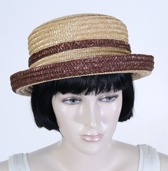 Vintage 1980 s Ladies Straw Hat with Bow Turned Up Brim  e0cee0f1a715
