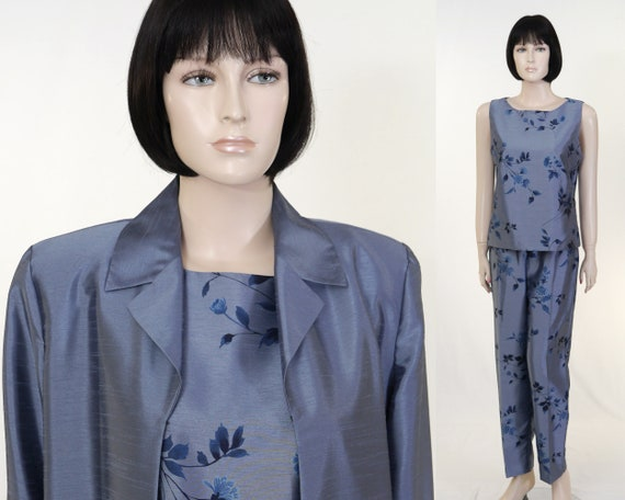 Vintage 90's AGB Byer Pant Suit - Steel Blue 3 Pie