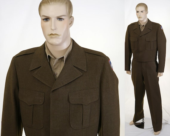 Vintage Army Eisenhower Uniform - Cropped Jacket,