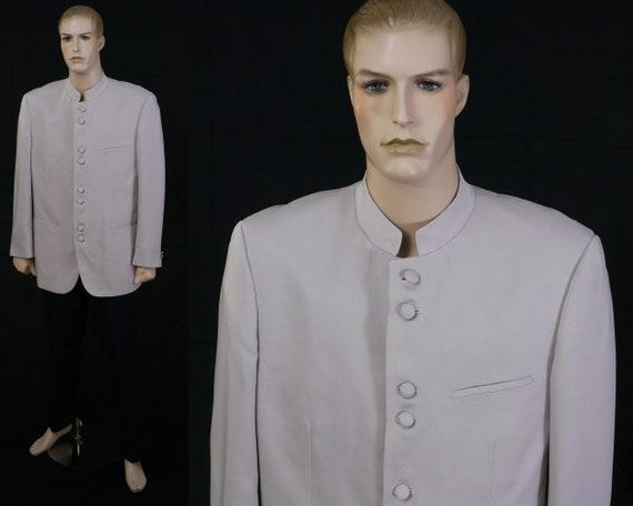 Vintage 80s Men's Tan Nehru Blazer - Lucci - Size