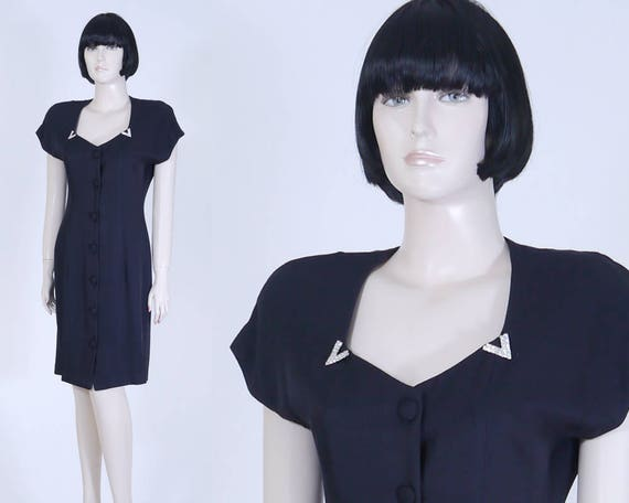 Vintage 1980s Women's Black Dress - Jeweled Collar