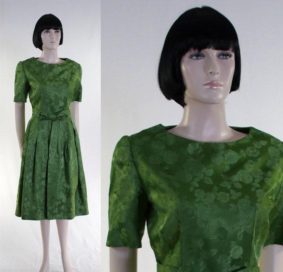 Vintage 1960s Women's Brocade Dress / Green Brocad