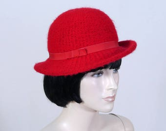 Vintage Women's Red Cloche Hat - Nordstrom Red Hat - Red Woven Hat - 1980s Hat - Red Knit Hat - Size Small