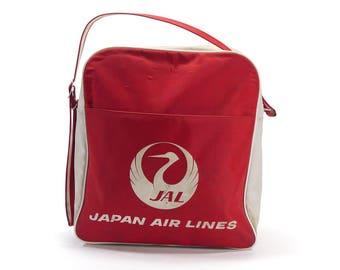 Vintage Japan Air Lines Flight Bag - Airline Flight Bag - Red & White Flight Bag - Japan Air Lines - 1970s - Nylon Flight Bag - JAL