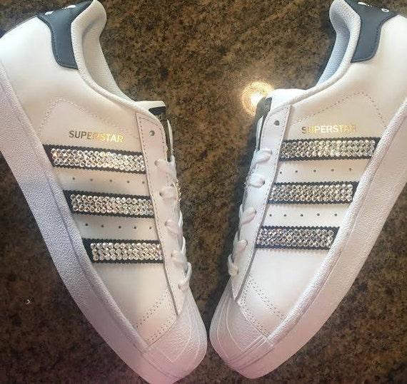 Rhinestone Adidas Original Superstar Shoe Blinged Running  b521664cdde9