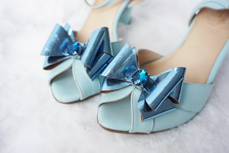 blue leather bow something blue Bow shoe clips Shoe accessories -bridal clip metallic leather shoe clips blue crystal leather bow