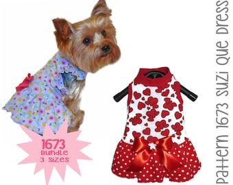 Dog Dresses Dog Clothes Patterns Pet Clothes Bella Rose Dog Dress Pattern 1557 Dog Harness Small Dog Clothes Bundle 3 Sizes