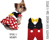 Mouse Dog Dress and Dog Suit Sewing Pattern 1539 - Inspired by your favorite cartoon mouse - Dog Costume - Dog Clothes - Dog Vest - Sm Med