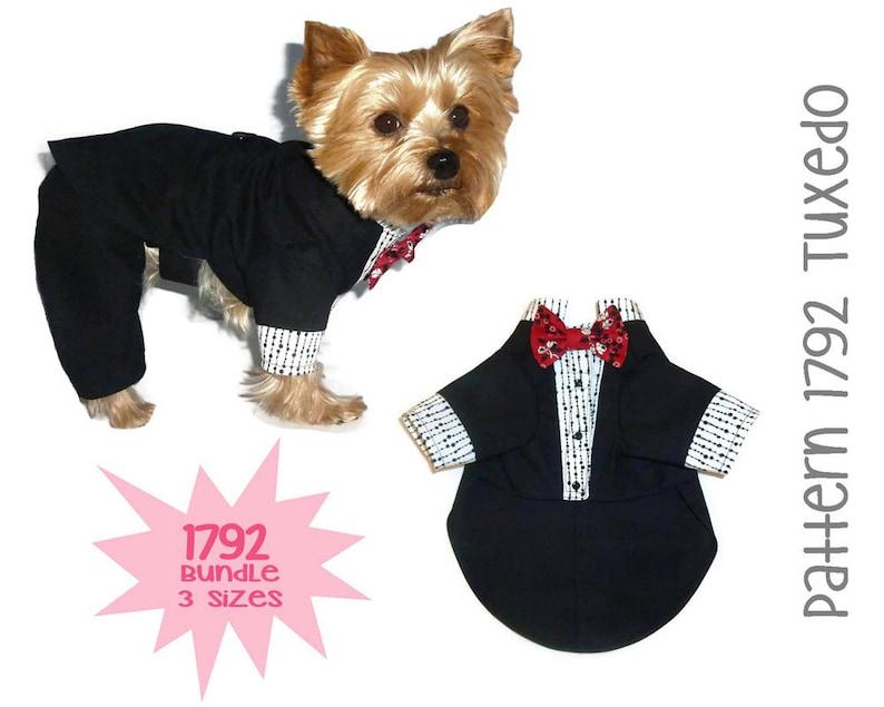Dog Wedding Bow Tie Dog Suit Bundle 3 Sizes Dog Wedding Attire Dog Jackets Dog Tuxedo Pattern 1792 Dog Clothes Patterns