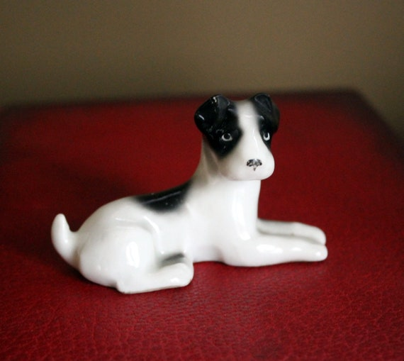 Bull Terrier Whiite Black Spot Dog Trinket Box or Figurine